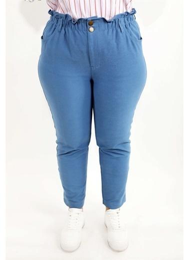 Luokk Pablo Yüksek Bel Önden Fermuarlı Havuç Kesim Kadın Pantolon Mavi